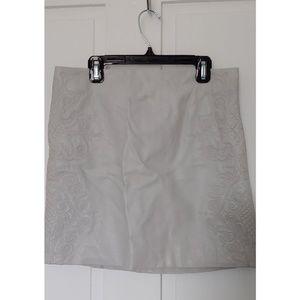 h&m white faux leather mini pencil skirt